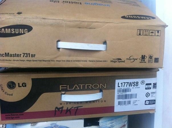 Продаю два монитора lg flatron 17 дюймов и Samsung 731bf 17 дюймов,все новое полный комплект - Оргтехника...